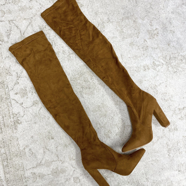 Stella Over the Knee Boots: Cognac Suede - Bella and Bloom Boutique