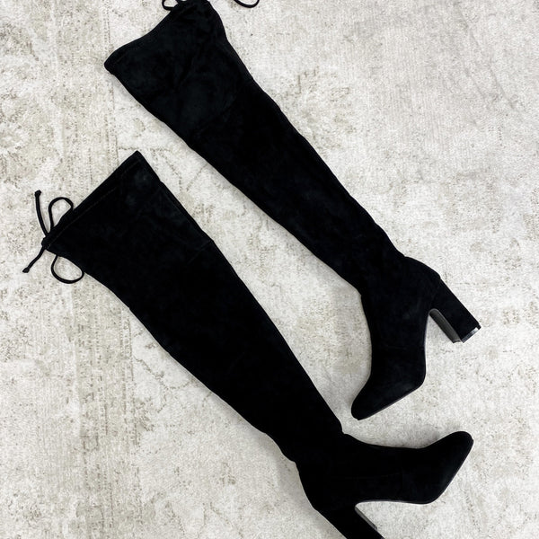 Tayshia Over the Knee Boots: Black Suede - Bella and Bloom Boutique