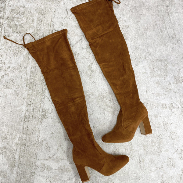 Tayshia Over the Knee Boots: Cognac Suede - Bella and Bloom Boutique