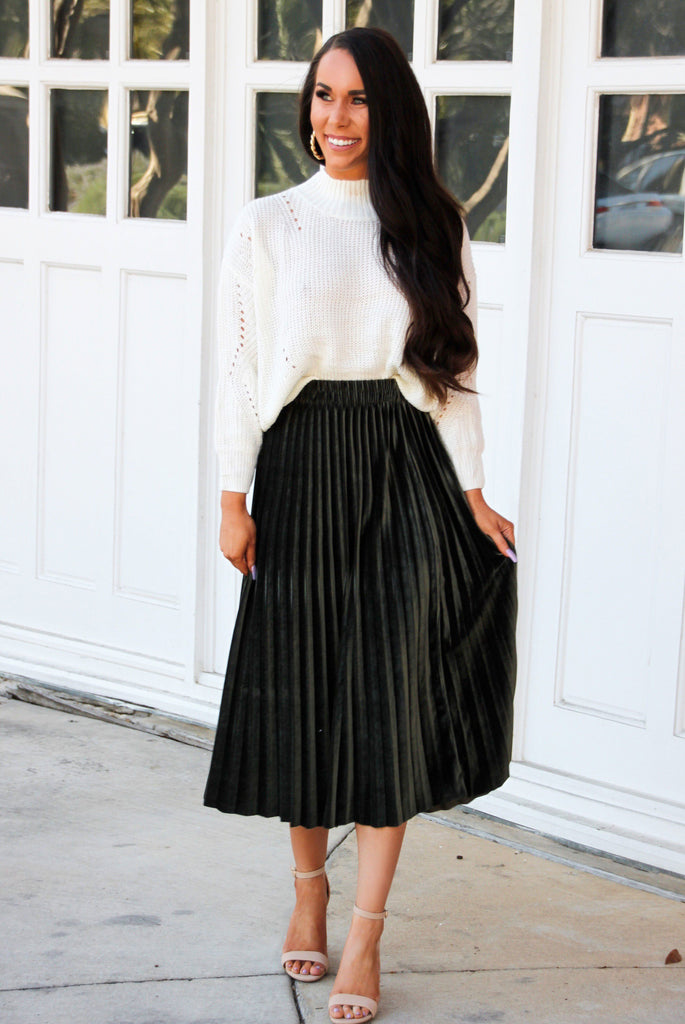 Holiday Crush Velvet Midi Skirt: Olive - Bella and Bloom Boutique