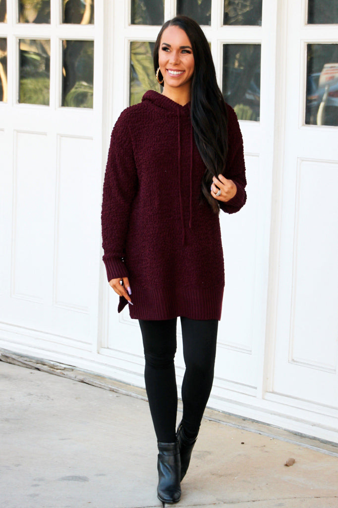 Raleigh Popcorn Sweater Hoodie: Burgundy - Bella and Bloom Boutique