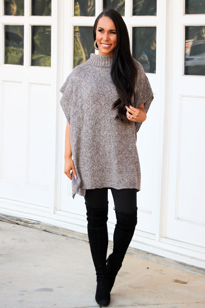 Hanging Around Sweater Tunic: Mocha - Bella and Bloom Boutique