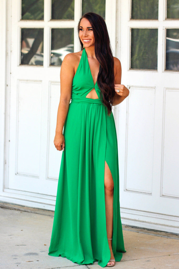Must Be Luck Maxi Dress: Kelly Green - Bella and Bloom Boutique