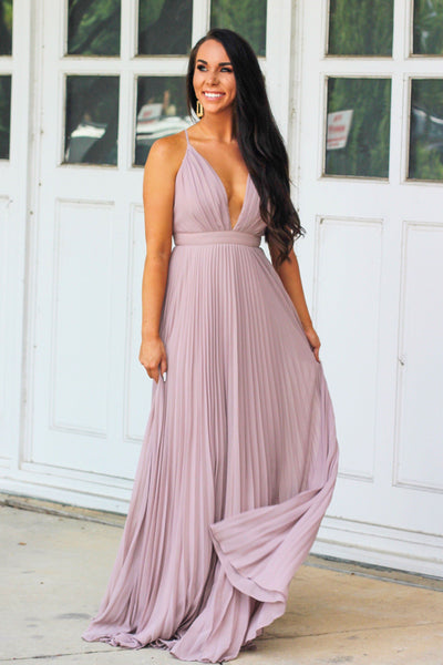 Classic Pleated Maxi Dress: Mauve - Bella and Bloom Boutique