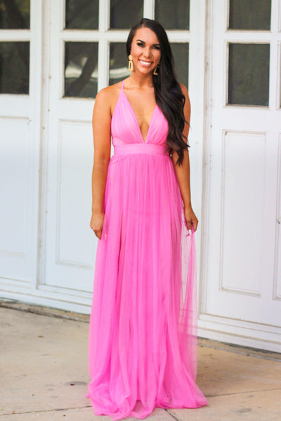 Forever Love Maxi Dress: Barbie Pink - Bella and Bloom Boutique