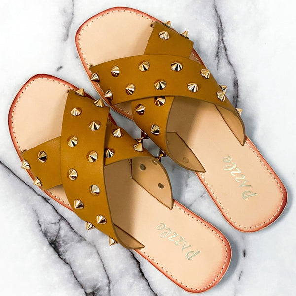 Gemma Spike Sandals: Cognac - Bella and Bloom Boutique