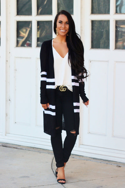 RESTOCK: Never the Same Cardigan: Black/White - Bella and Bloom Boutique