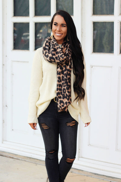 Leopard Scarf: Brown Multi - Bella and Bloom Boutique