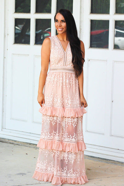Wanderlust Maxi Dress: Peach - Bella and Bloom Boutique
