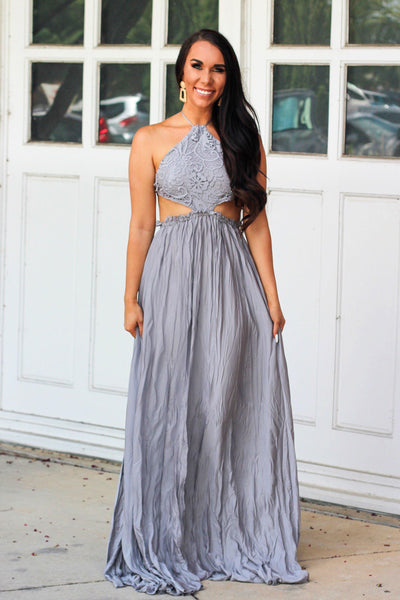 Love Someone Maxi Dress: Silver - Bella and Bloom Boutique
