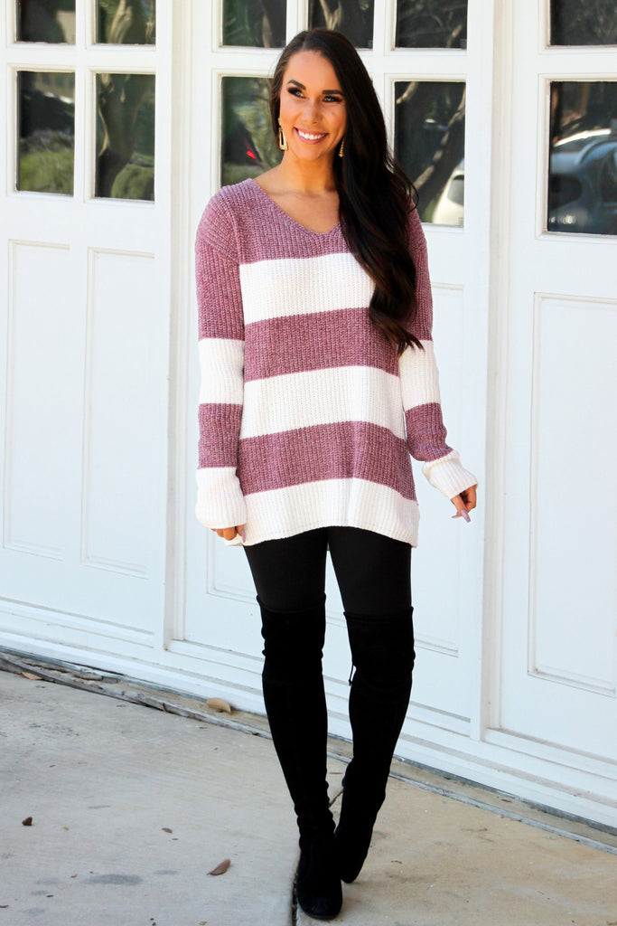 Colder Weather Chenille Sweater: Mauve/Ivory - Bella and Bloom Boutique
