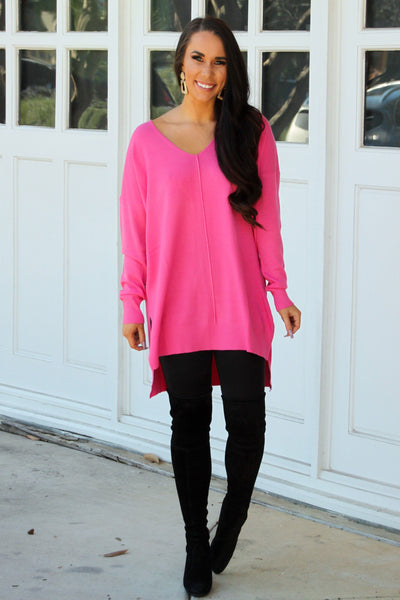 RESTOCK: Closet Essential Sweater: Fuchsia - Bella and Bloom Boutique