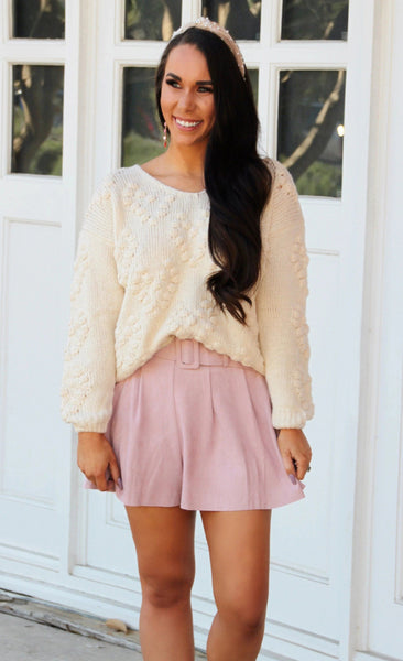 Suede Chic Shorts: Blush - Bella and Bloom Boutique
