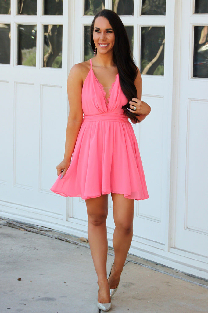 RESTOCK: Night to Remember Mini Dress: Neon Pink - Bella and Bloom Boutique