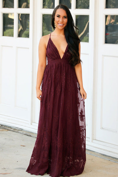 Heavenly Lace Maxi Dress: Wine - Bella and Bloom Boutique