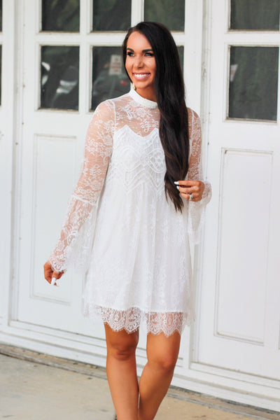 RESTOCK: Laced in Love Dress: White - Bella and Bloom Boutique