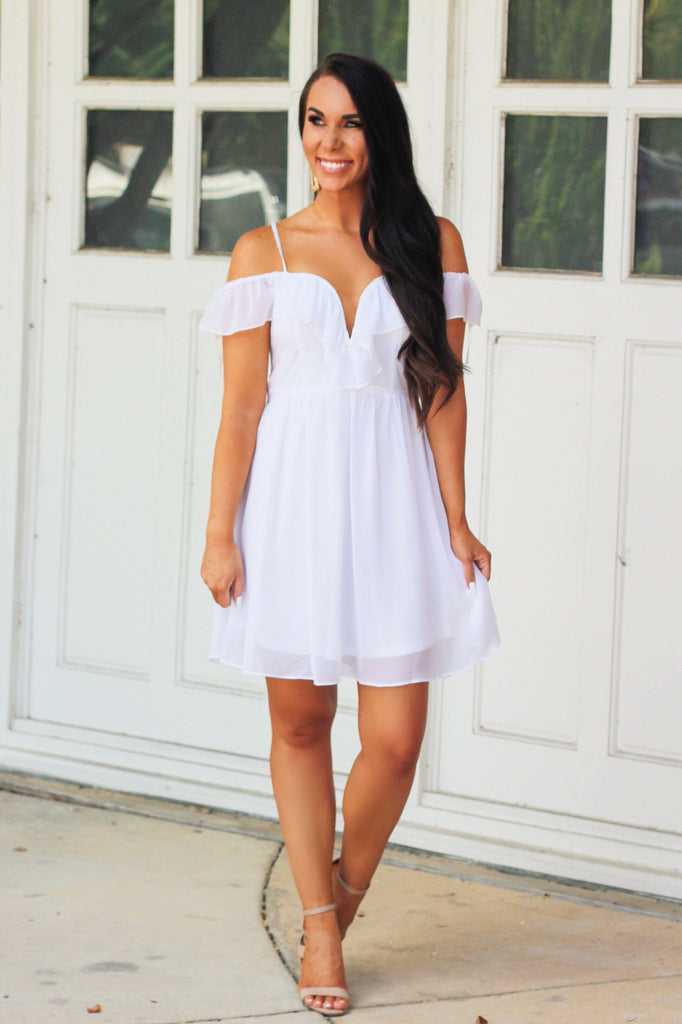 Ruffled Love Dress: White - Bella and Bloom Boutique