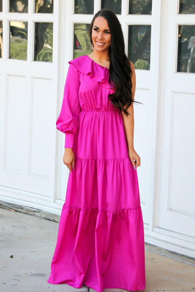 Magical Moment Maxi Dress: Magenta - Bella and Bloom Boutique