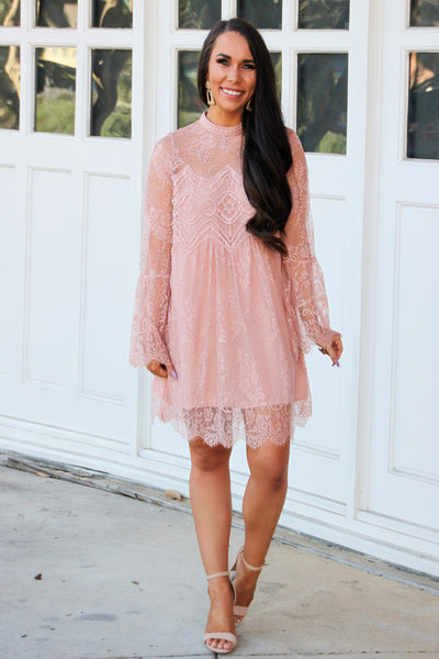 Laced in Love Dress: Blush - Bella and Bloom Boutique