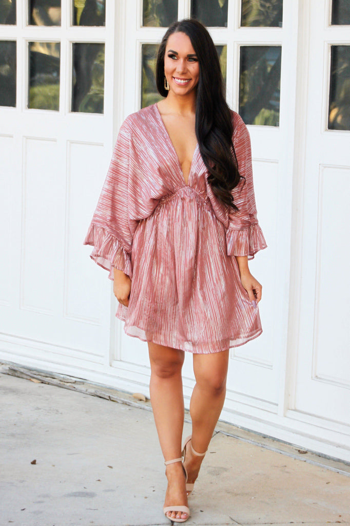 RESTOCK: Date Night Dress: Mauve/Silver - Bella and Bloom Boutique