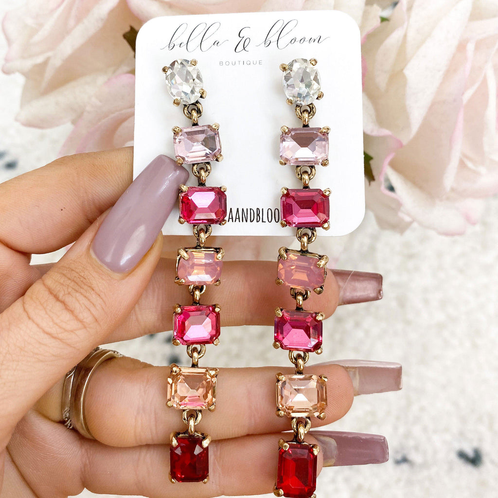 PRE-ORDER: Ombré Dangle Earrings: Pink Multi - Bella and Bloom Boutique