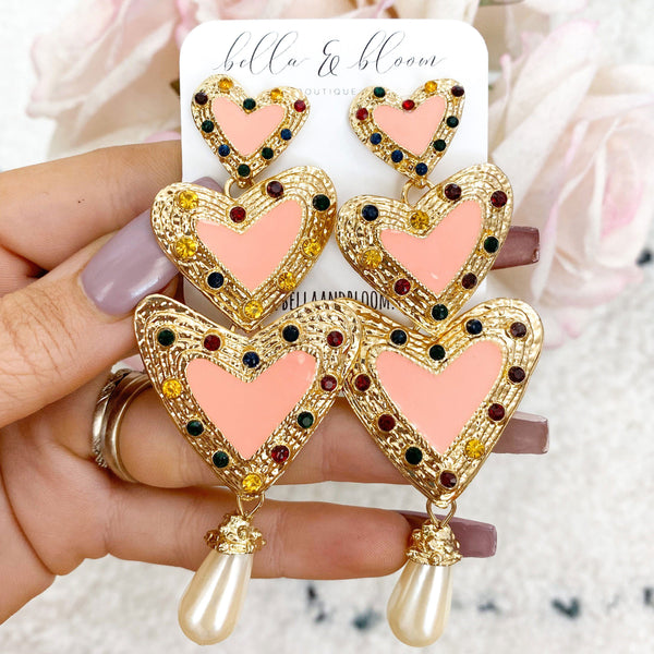 Tri-Heart Earrings: Pink - Bella and Bloom Boutique
