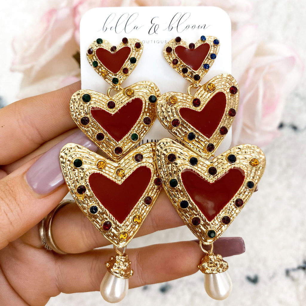 Tri-Heart Earrings: Red - Bella and Bloom Boutique