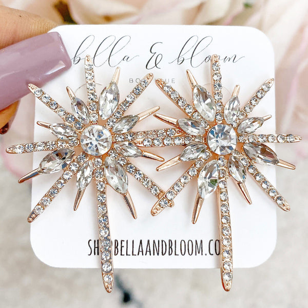 RESTOCK: Chic Starburst Earrings: Rose Gold - Bella and Bloom Boutique