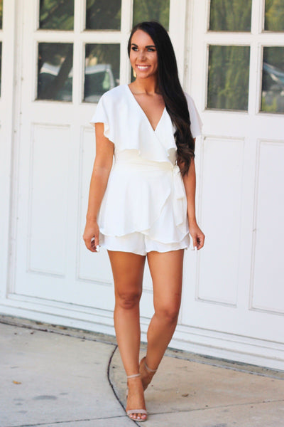 Feminine Frills Romper: White - Bella and Bloom Boutique