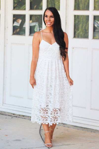 Down the Aisle Midi Dress: White - Bella and Bloom Boutique