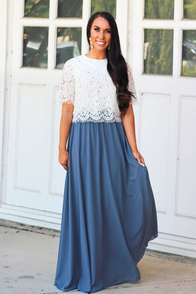 RESTOCK: Sweet Romance Maxi Skirt: Dusty Blue - Bella and Bloom Boutique