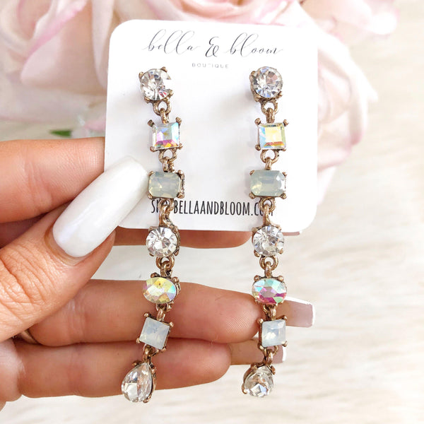 Crystal Drop Earrings: Multi - Bella and Bloom Boutique