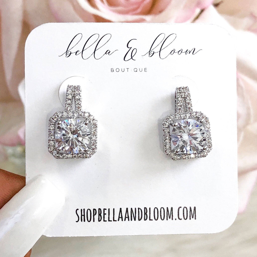 RESTOCK: Cinderella Stud Earrings: Silver - Bella and Bloom Boutique