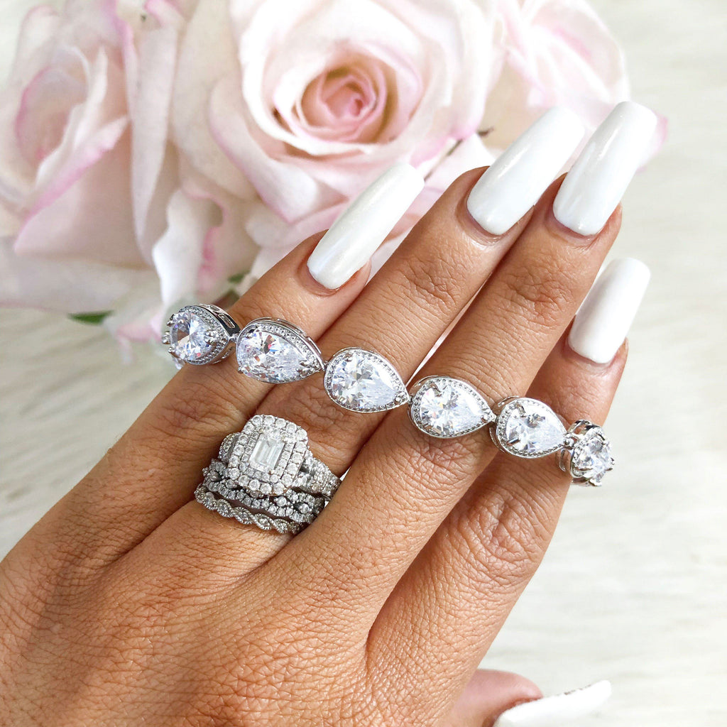 RESTOCK: Teardrop Bracelet: Silver - Bella and Bloom Boutique
