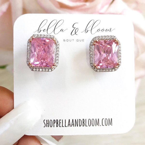 PRE-ORDER: Oversized Stud Earrings: Pink - Bella and Bloom Boutique