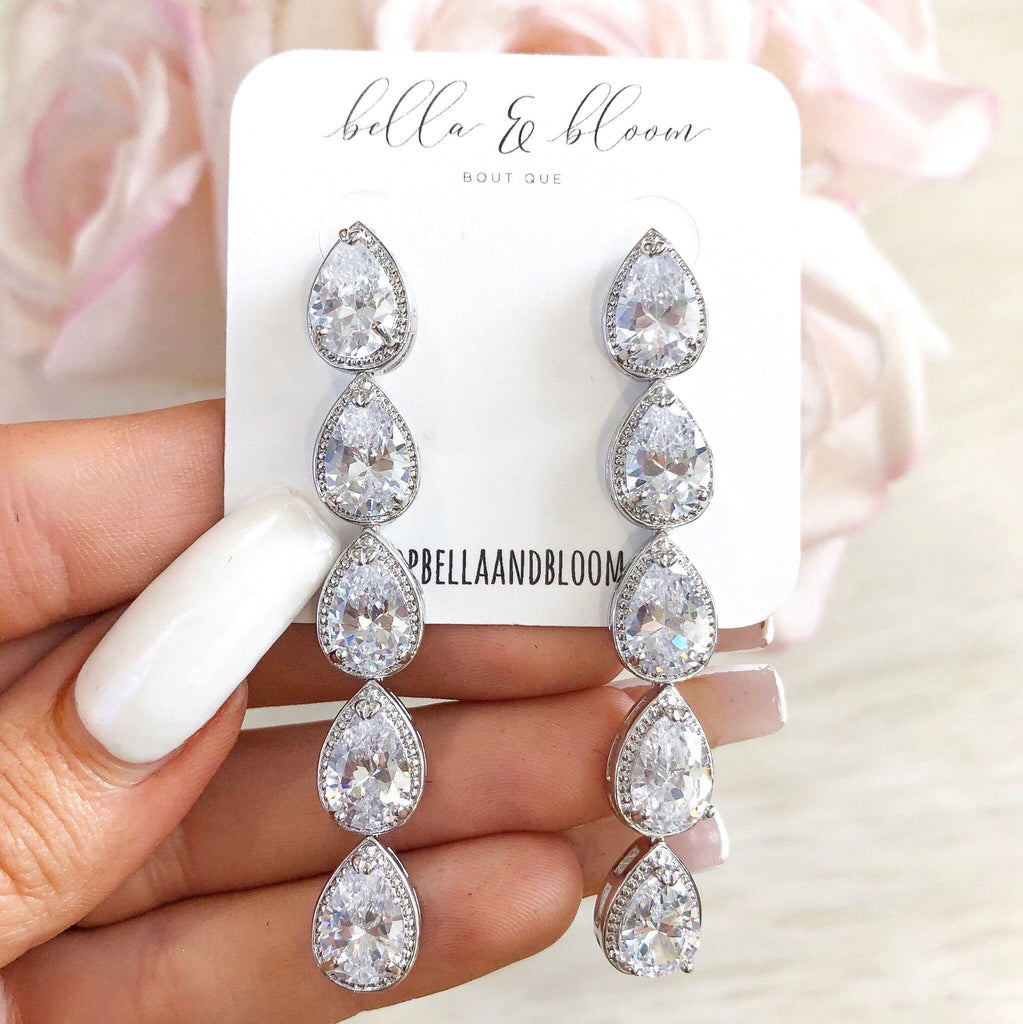 RESTOCK: Cascading Teardrop Earrings: Silver - Bella and Bloom Boutique