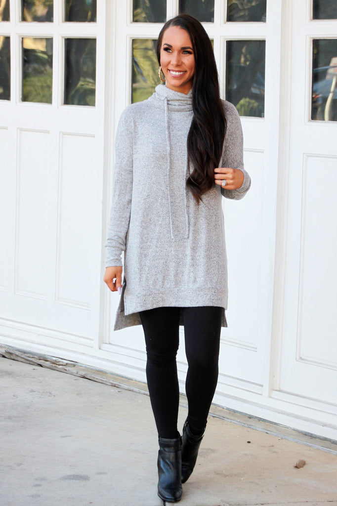 Cozy Crush Pullover Tunic Top: Heather Gray - Bella and Bloom Boutique