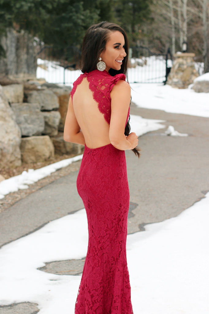 Black Tie Nights Maxi Dress: Red/Nude - Bella and Bloom Boutique