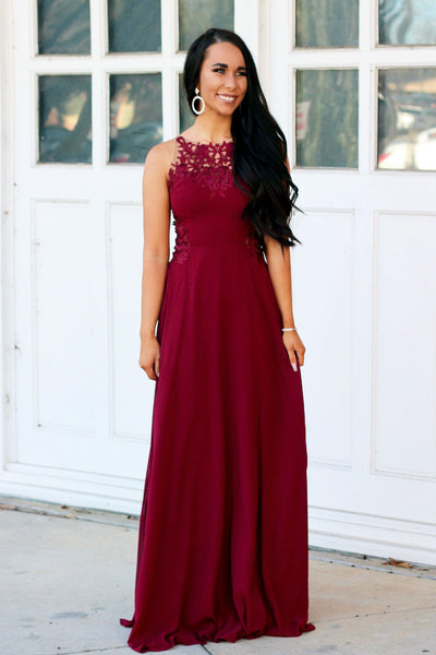 One for Me Maxi Dress: Burgundy - Bella and Bloom Boutique