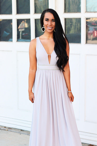 First Love Maxi Dress: Pale Gray - Bella and Bloom Boutique