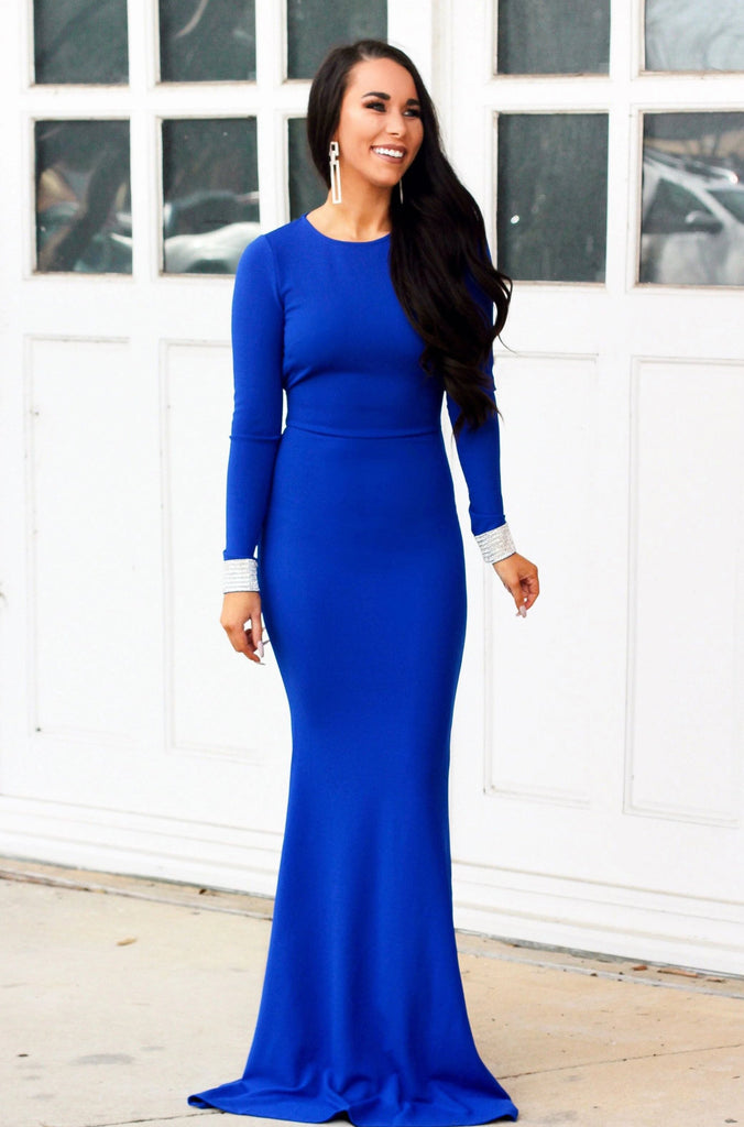 Sleek Sparkle Maxi Dress: Royal Blue - Bella and Bloom Boutique