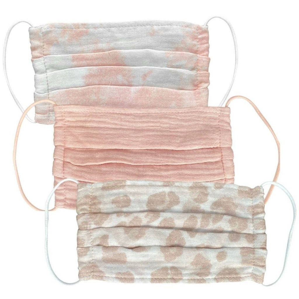 Set of 3 Washable COVID-19 Preventative Fabric Mask: Blush - Bella and Bloom Boutique
