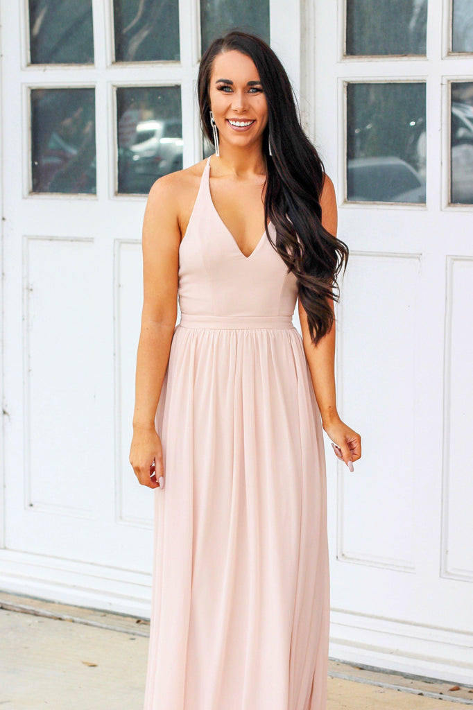Sweet Nothings Maxi Dress: Blush - Bella and Bloom Boutique