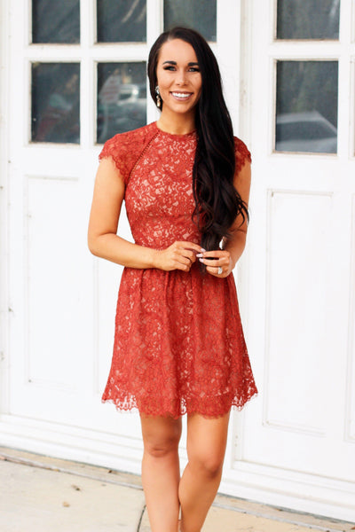 STYLESTALKER Lace Dress: Rust - Bella and Bloom Boutique