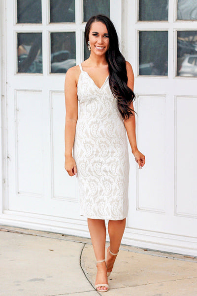 Finally Mrs. Midi Dress: Ivory - Bella and Bloom Boutique