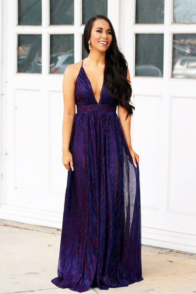 All That Glitters Maxi Dress: Purple/Blue - Bella and Bloom Boutique