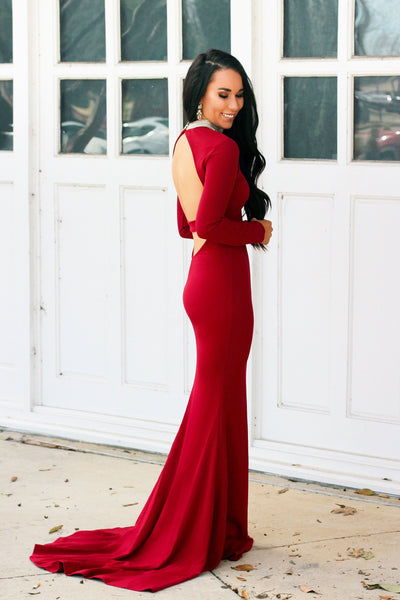 Sweet Class Maxi Dress: Burgundy - Bella and Bloom Boutique