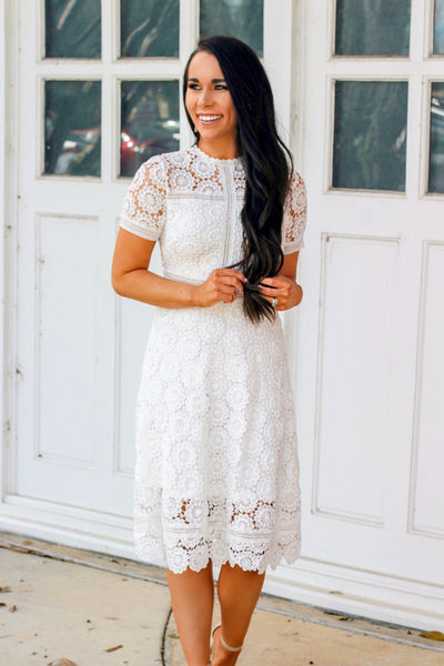 RESTOCK: Best Day Ever Lace Dress: White - Bella and Bloom Boutique