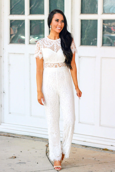 Forever Yours Jumpsuit: White - Bella and Bloom Boutique