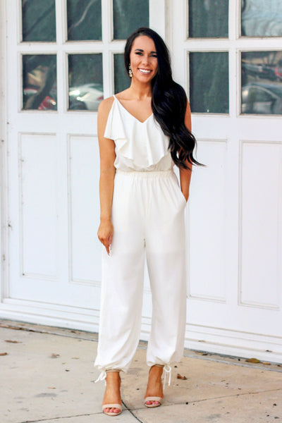 Love on Top Jumpsuit: Ivory - Bella and Bloom Boutique